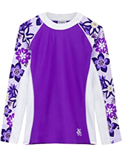 b2317206c63 Tuga Girls Long Sleeve Rash Guards 1-14 Years, UPF 50+ Sun Protection