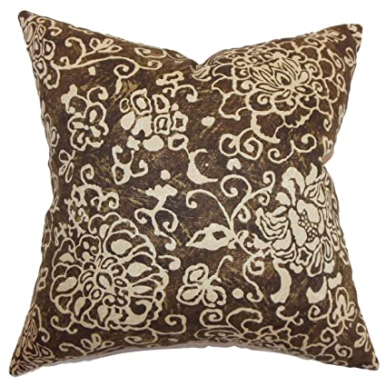 The Pillow Collection Jaffna Floral Bedding Sham Chocolate King//20 x 36
