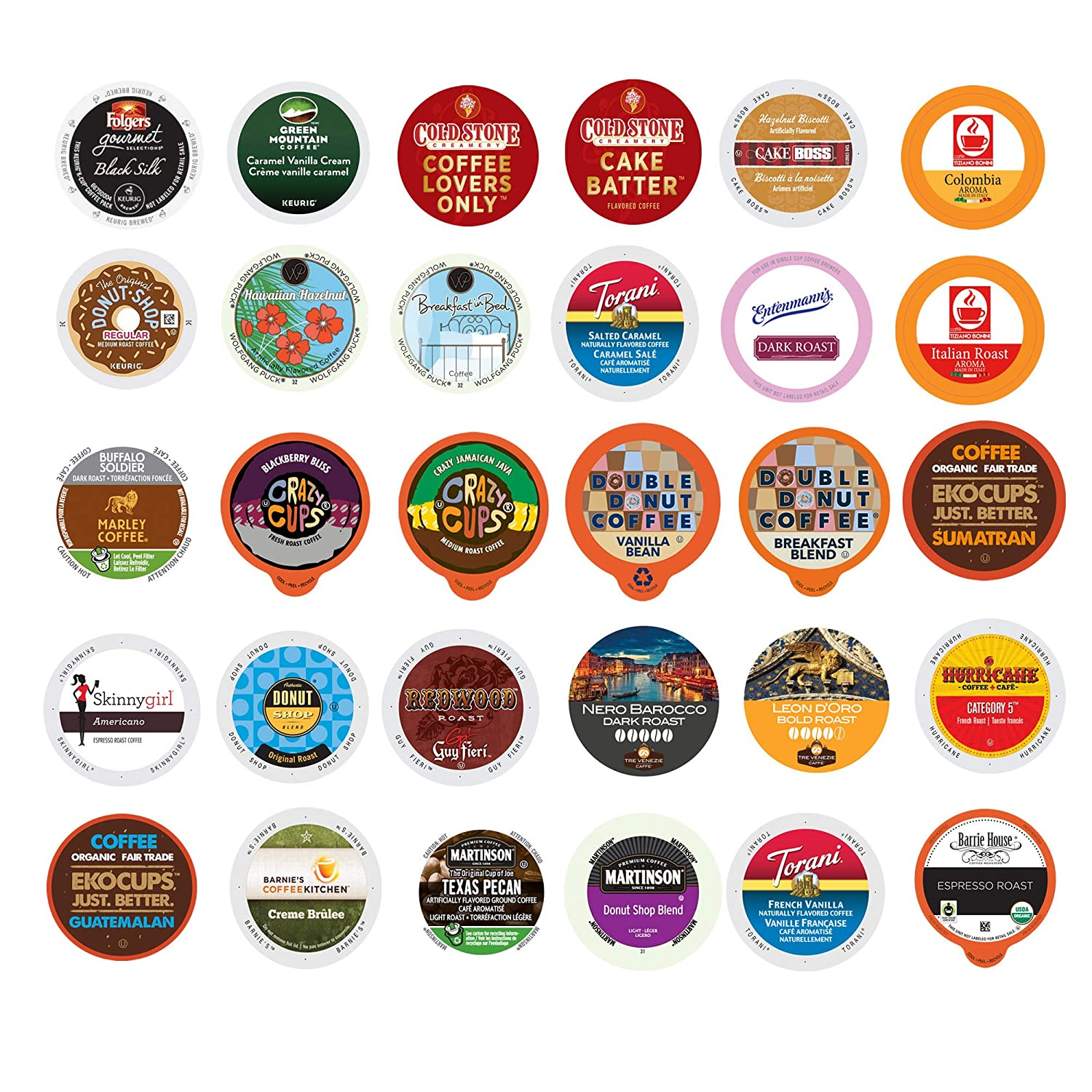Crazy Cups Custom Variety Pack Coffee Variety Sampler Pack for Keurig K-Cup Brewers (Premium Coffee, 30)