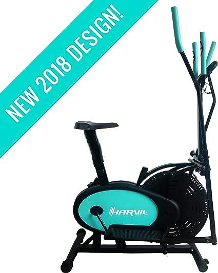 Harvil Bicicleta estática elíptica 2 en 1 con Fitness Tracker ...