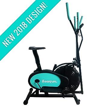 harvil bicicleta estática elíptica 2 en 1 con Fitness Tracker, sensor de ritmo cardíaco,