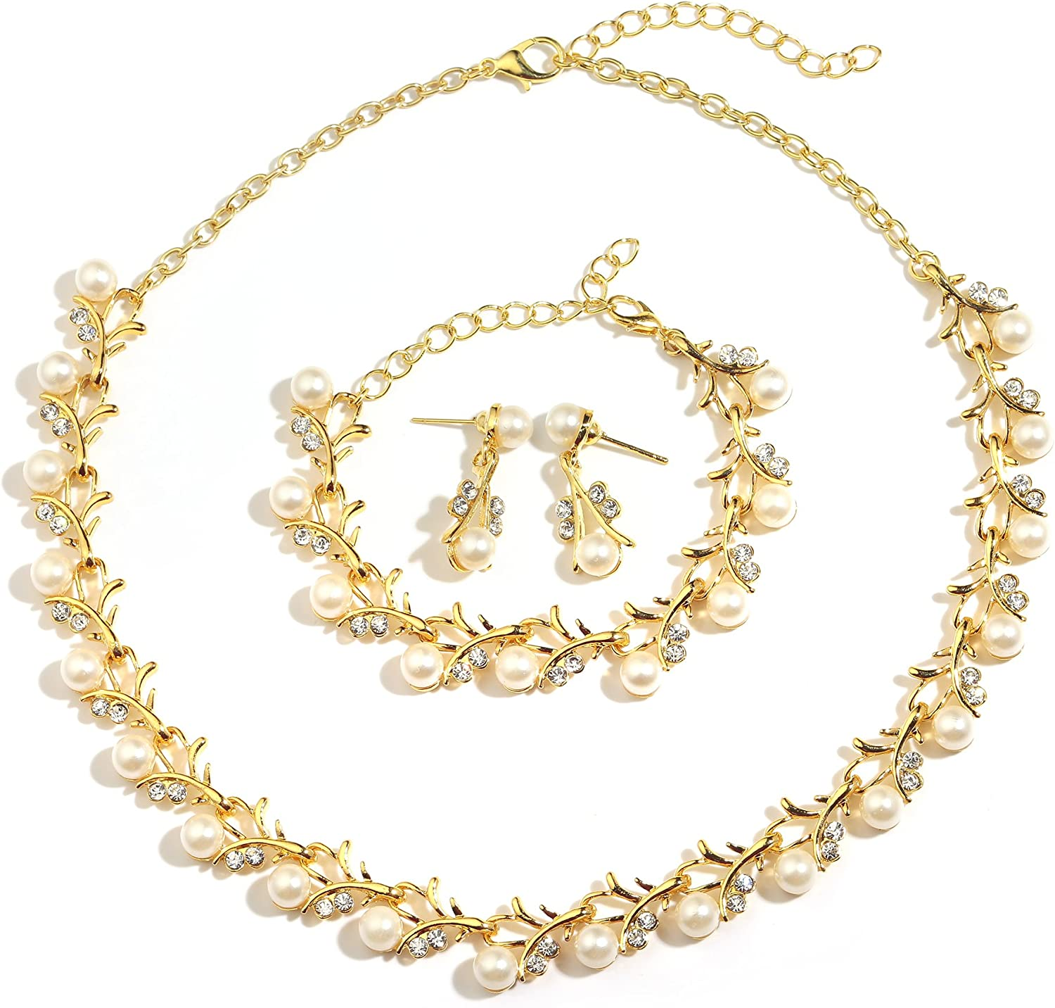 MOOCHI 18K Gold/Silver Plated Simulated Colorful Pearls Rhinestones Necklace Earrings Bracelet Jewelry Set for Women Costume Wedding Engagement Statement Prom Birthday Party