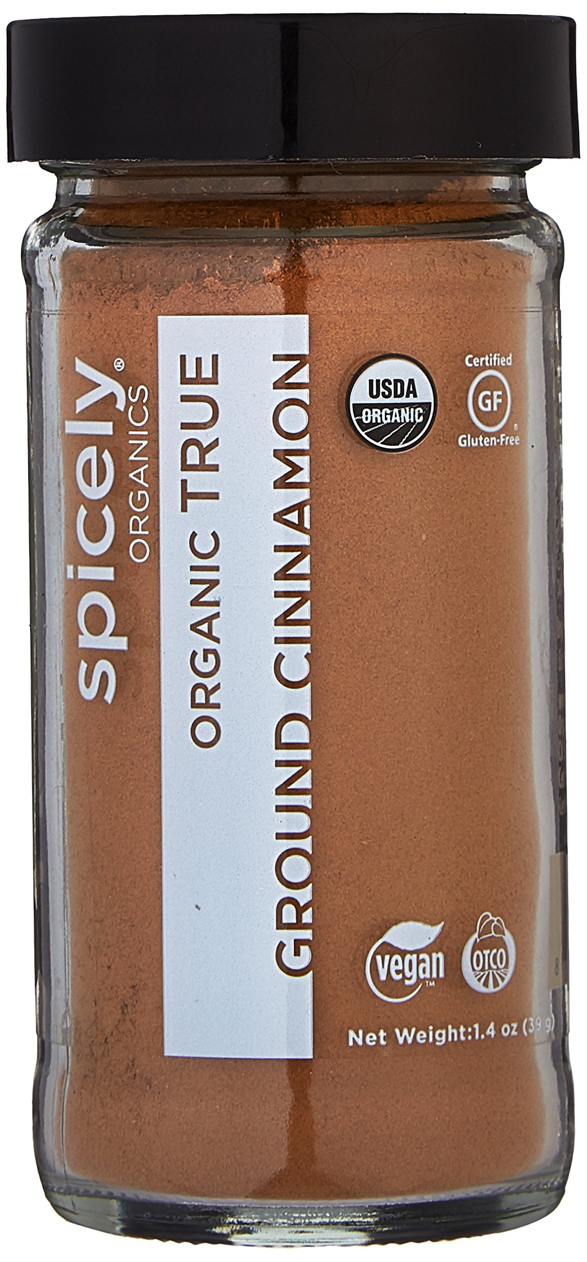 Spicely Organic Cinnamon True Powder (Ceylon) 1.40 Ounce Jar Certified Gluten Free