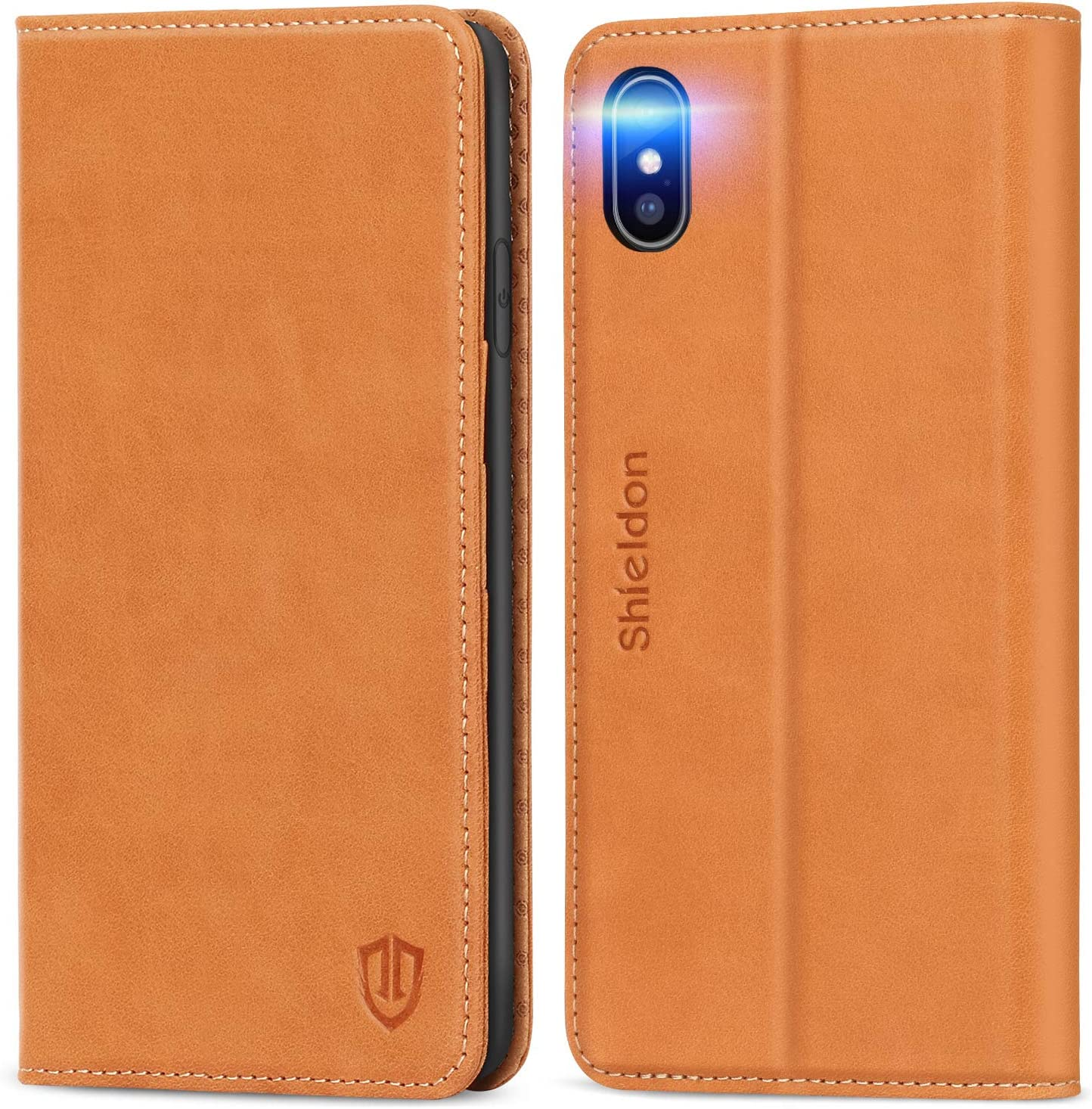 """SHIELDON iPhone Xs Max Case, Genuine Leather iPhone Xs Max Wallet Case Support Auto Wake/Sleep RFID Protective Card Holder Folio Magnetic Stand Cover Compatible with iPhone Xs Max (6.5"""") - Brown"""