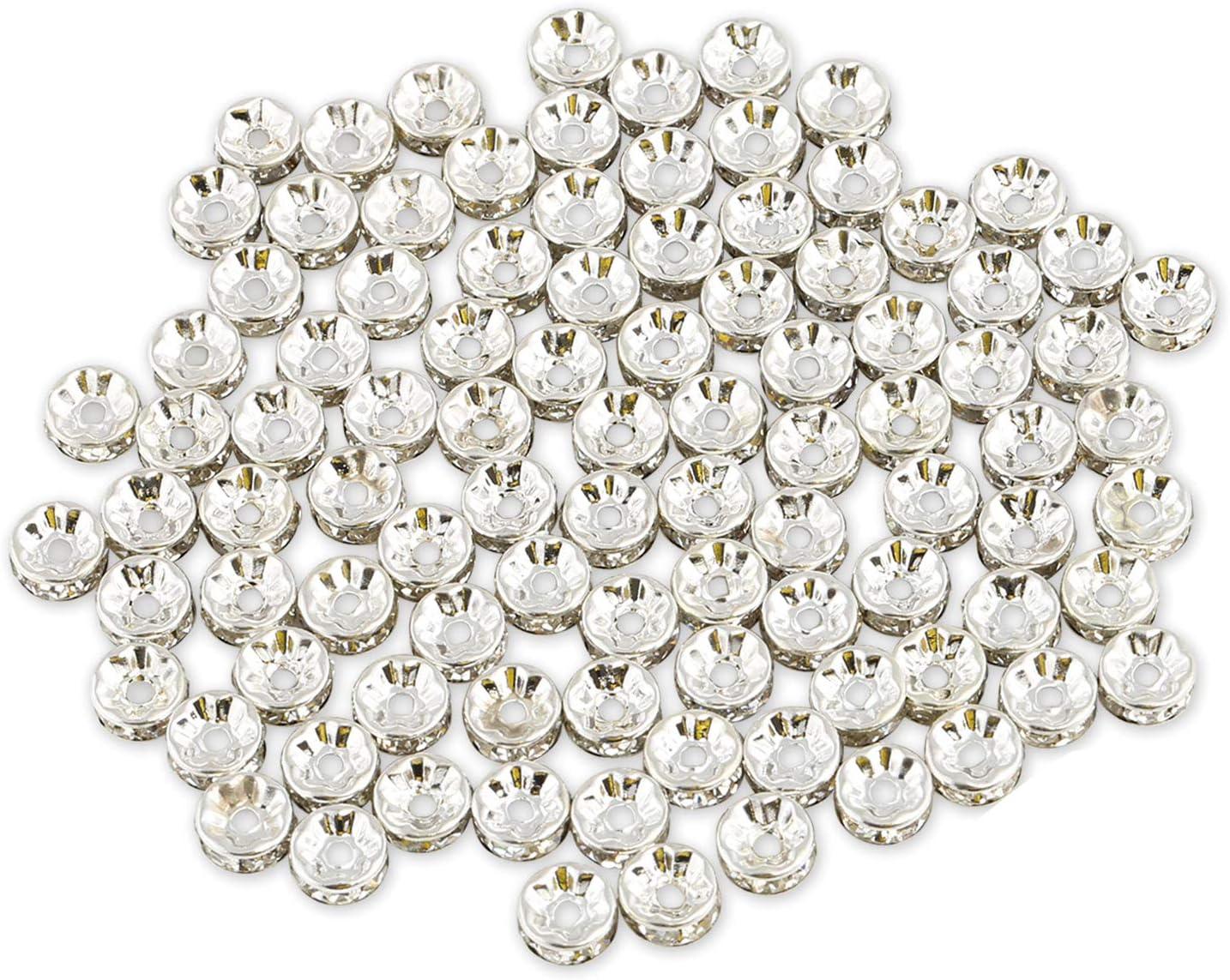 Naler - 120 abalorios redondos chapados en plata brillantes con diamantes de imitación redondos, para bisutería, manualidades, 8 mm