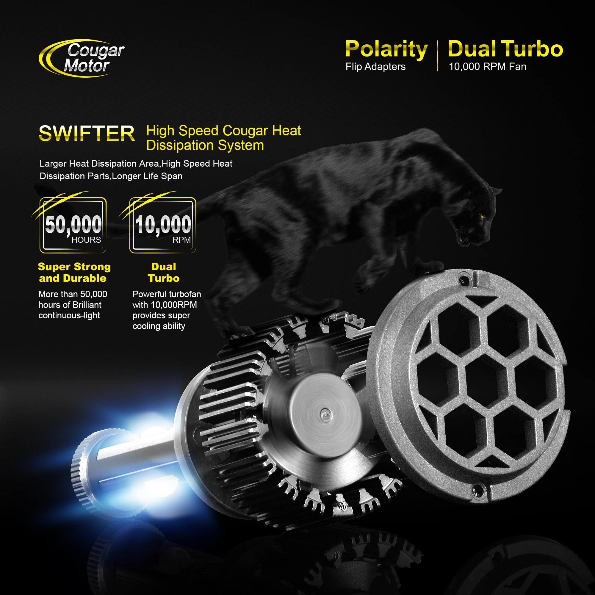 cougar motor h13 9008 high low led headlight bulbs all in one