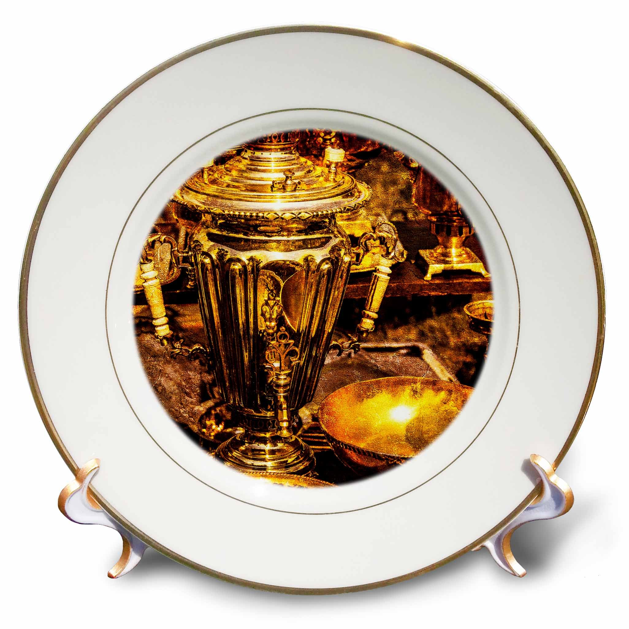 3dRose Alexis Photography - Objects - Golden age technologies - Samovar or fire tea pot. Stylized photo - 8 inch Porcelain Plate (cp_270870_1)