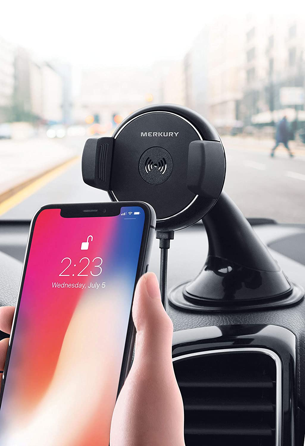 Merkury Innovations Qi Certified Fast Charge Wireless Charger//Power Mount for Car Windshield or Dashboard Compatible with iPhone X 8//8 Plus Samsung Galaxy S8 Note 8 /& More Qi Devices