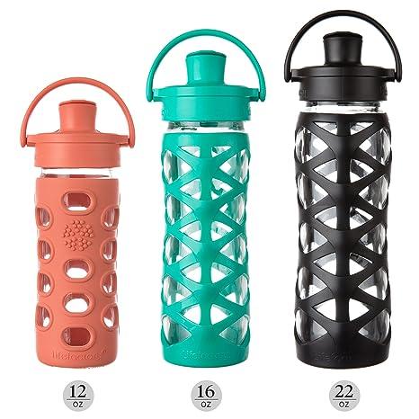 Lifefactory - botella de cristal con tapa Flip activo y silicio manga Golden Gate Orange: Amazon.es: Electrónica