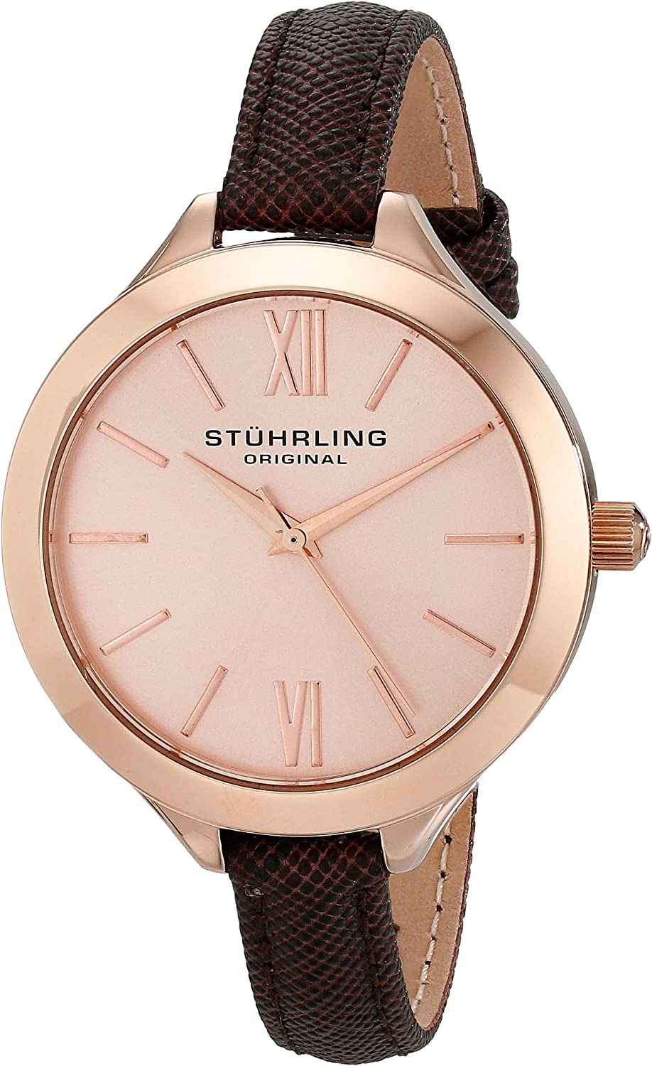 Stuhrling Original Women s 975.04 Vogue Rose Gold-Tone Watch with Brown Leather Band