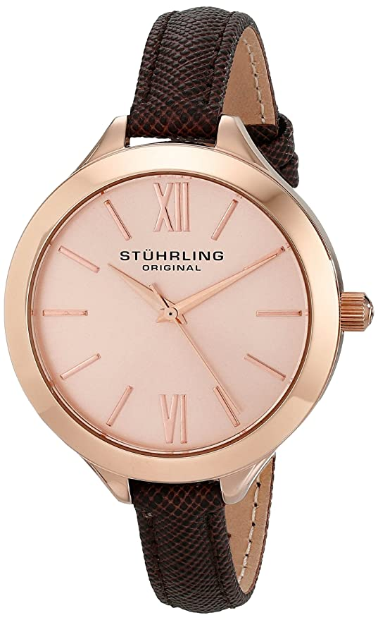 Stuhrling Original Women's 975.04 Vogue Rose Gold-Tone Watch with Brown Leather Band