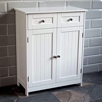 968a6291c56b Home Discount Priano 2 Drawer 2 Door Bathroom Cabinet Storage Cupboard  Floor Standing Unit, White: Amazon.co.uk: Kitchen & Home