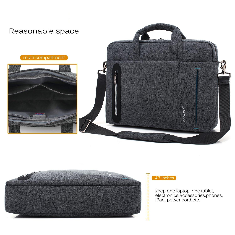 CoolBELL 17.3 inch Laptop Bag Messenger Bag Hand Bag Multi-compartment Briefcase Oxford Nylon Shoulder Bag For Laptop/Ultrabook/HP/Acer/Macbook/Asus/Lenovo/Men/Women (New Grey) by CoolBELL (Image #5)