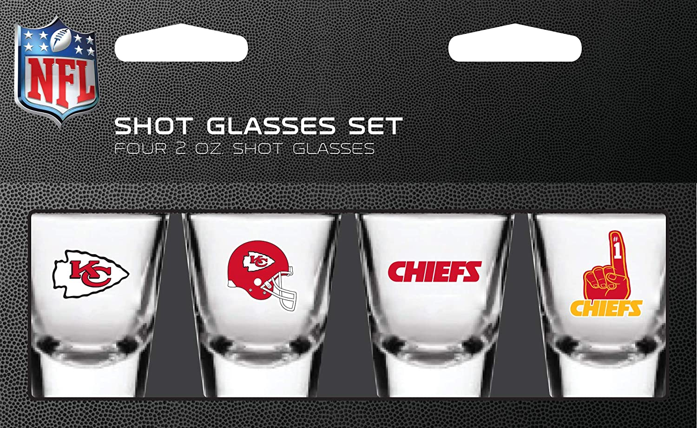 Team Colors One Size PSG NFL Kansas City Chiefs Shot Glass Set 4 Pack Shot Glass Set