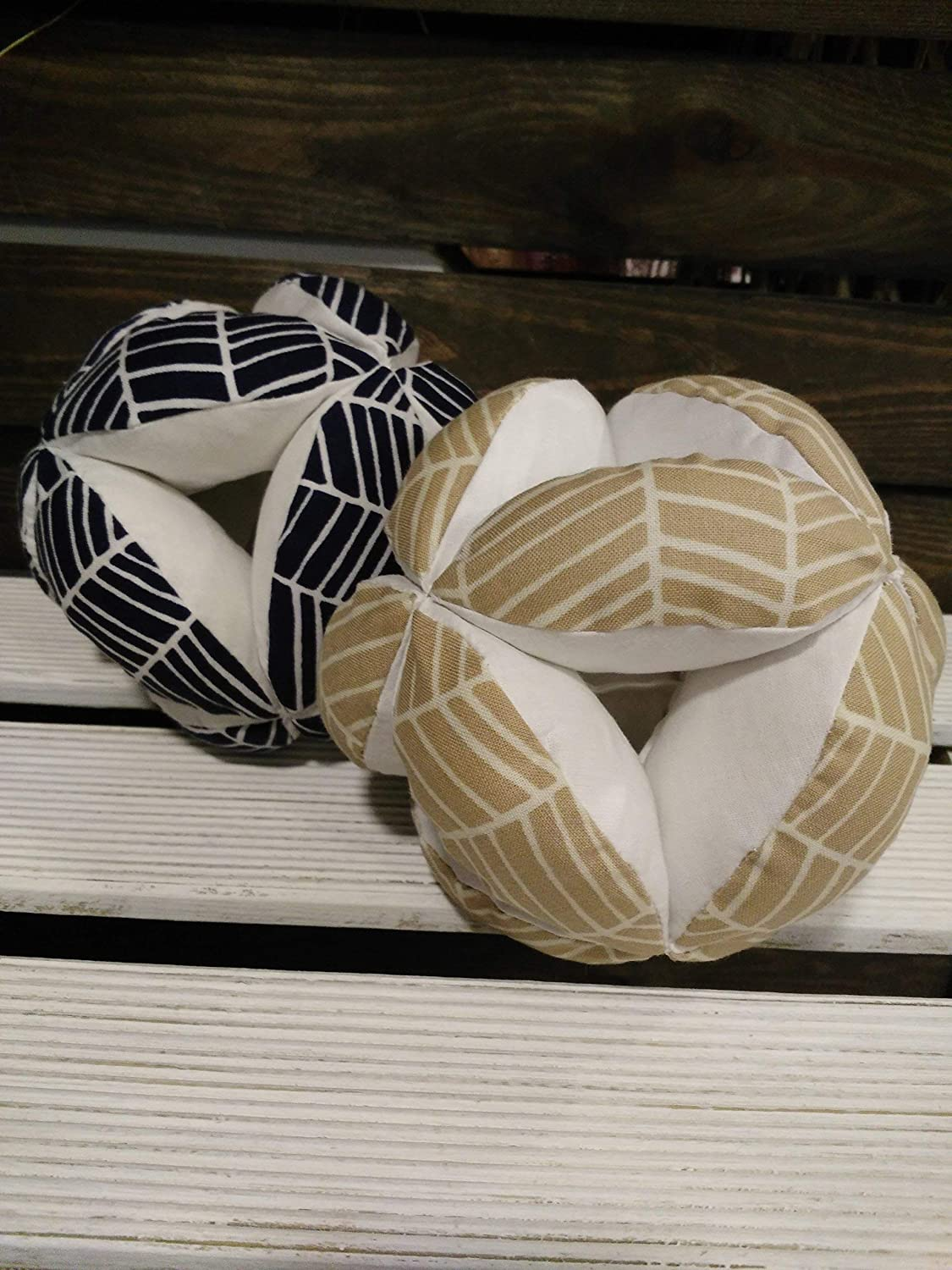 fabric beige ball, navy blue herringbone ball, Montessori baby toy, blue nursery