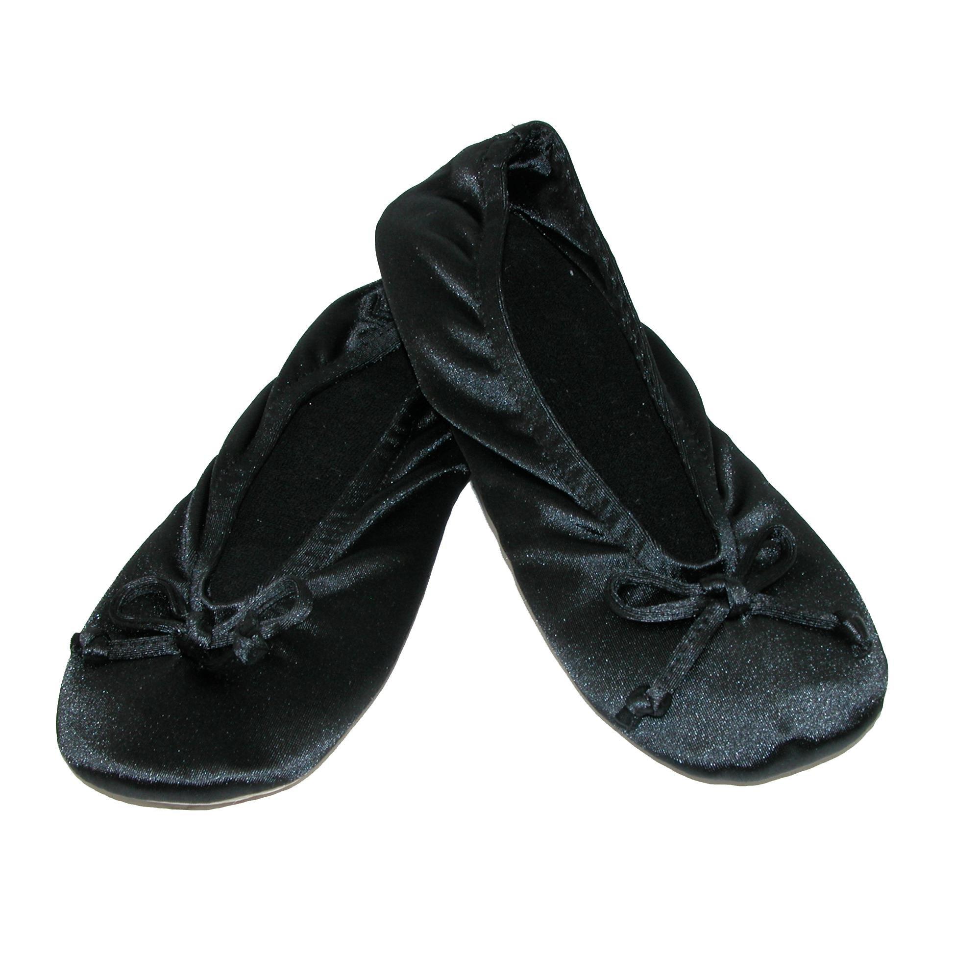 ISOTONER Women's Satin Plus Size Ballerina Slippers (Pack of 2), Black/Black