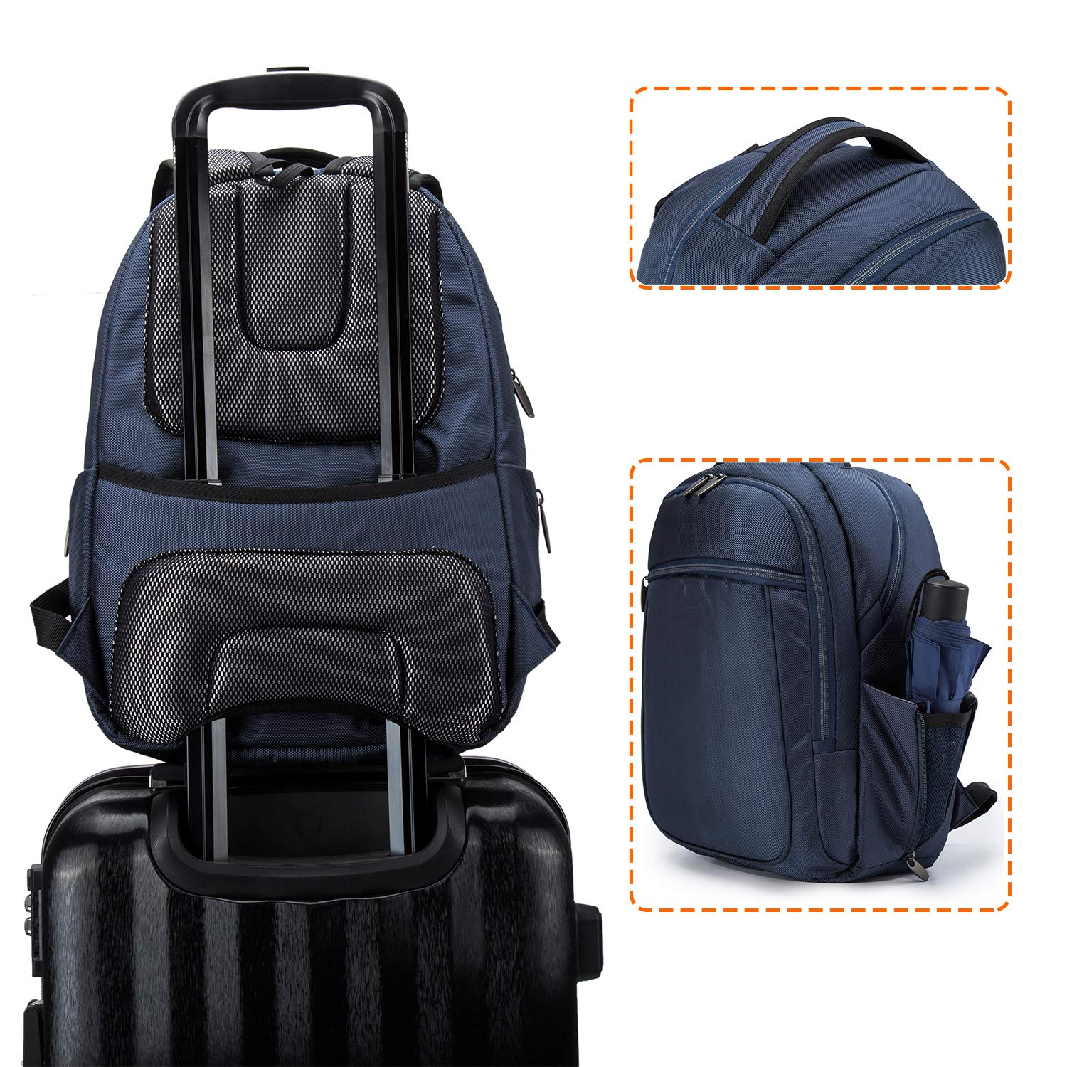Wemk Laptop Backpack, Business Backpack, Travel Computer Backpack for Women & Men, Water Resistant College School Computer Bag with a Little Bag, Fits 14.1 Inch Laptop& Notebook (Blue) by Wemk (Image #5)