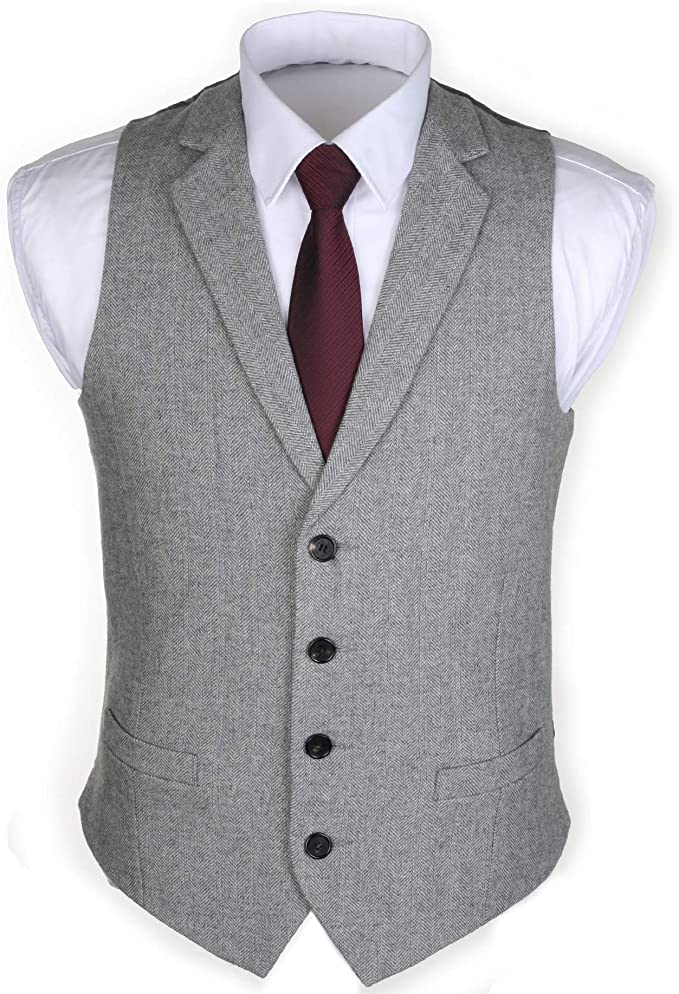 1920s Men's Fashion UK | Peaky Blinders Clothing Ruth&Boaz 2Pockets 4Buttons Wool Herringbone/Tweed Tailored Collar Suit Waistcoat £25.90 AT vintagedancer.com
