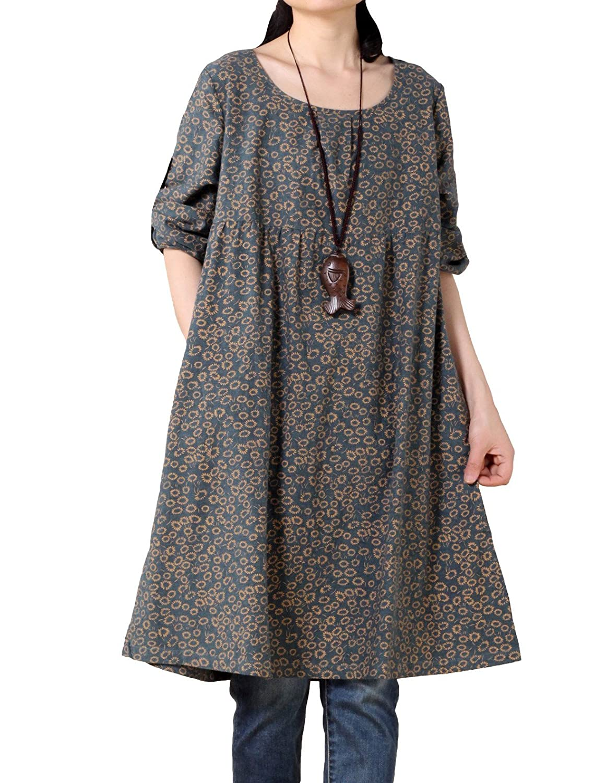 Vogstyle Women's Floral Printed Empire Waist A-line Dress