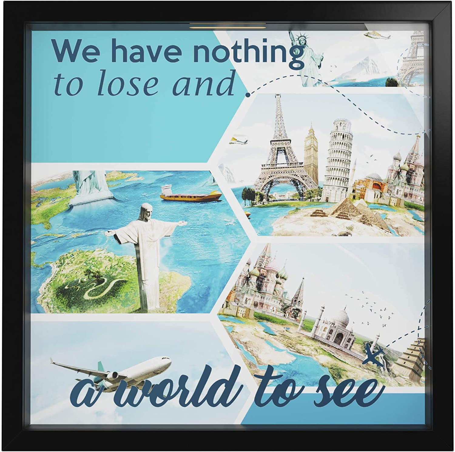 Travel Gifts | Travel Wall Art Decor|Travel Gifts Men and Women |World Travel Picture Frame for Home Decor | Trip Lovers Gifts | Adventure Wooden Photo Storage Box | Explorer Presents