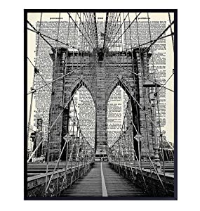 Brooklyn Bridge Poster, Dictionary Wall Art - Upcycled 8x10 Vintage Retro New York City Home Decoration - Chic Office or Apartment Decor - Unique Gift for New Yorkers, NYC, NY, Manhattan Fans
