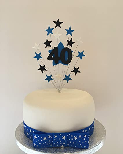 Enjoyable 40Th Birthday Cake Topper Blue Black And White Stars Approx 16 Cm Funny Birthday Cards Online Eattedamsfinfo