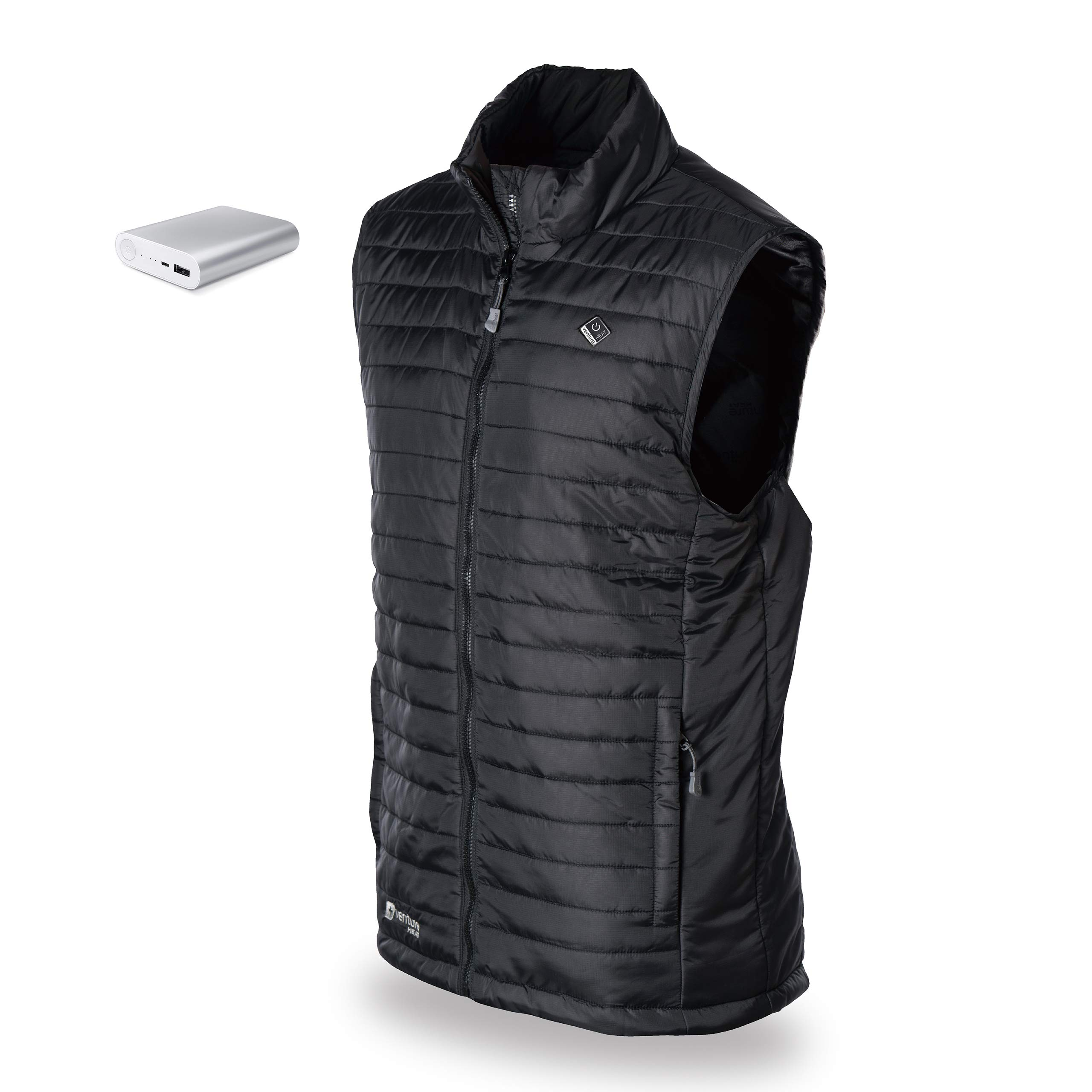 Venture Heat Men's Heated Vest with Battery 12 Hour - The Roam Puffer Heated Vest for Men Black