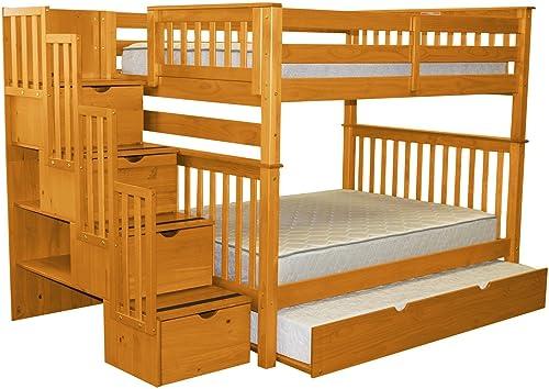 Bedz King Stairway Bunk Beds Full over Full