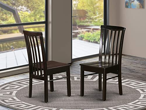 East West Furniture HLC-CAP-W Hartland wood dining chair – Cappuccino Wooden Seat and Cappuccino Solid wood Frame dining chairs set of 2