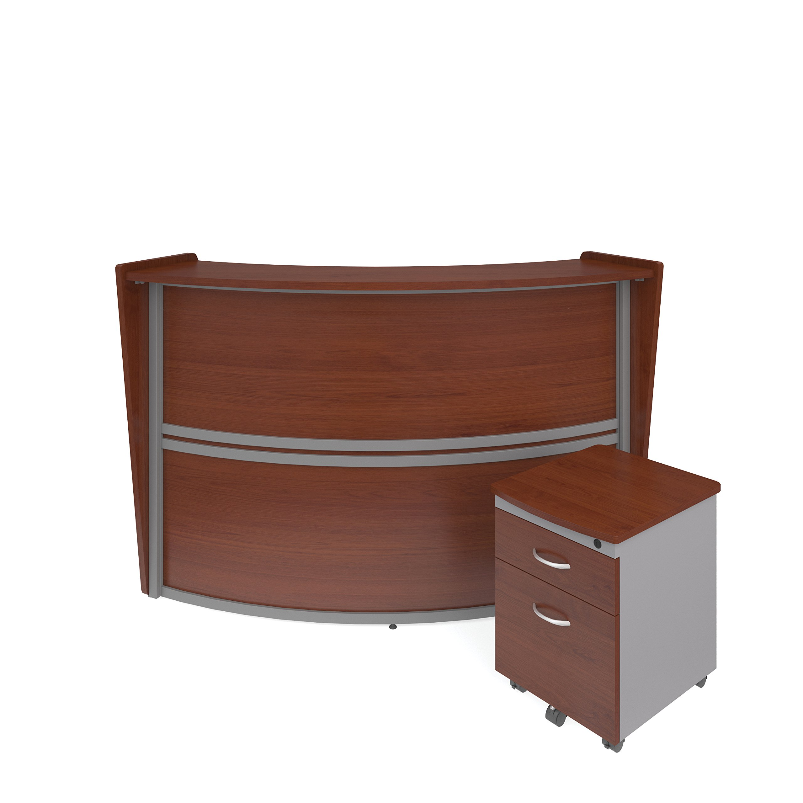 OFM Marque Series Single-Unit Curved Reception Station Package - Office Furniture Reception/Secretary Desk with Cherry Pedestal (PKG-55290-CHY)