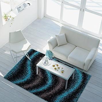Teppich Shaggy Design Hochflor Langflor Mit Wellen Muster Für Wohnzimmer/  Schlafzimmer In Türkis
