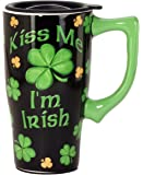 Spoontiques Kiss Me I'm Irish Travel Mug, Black