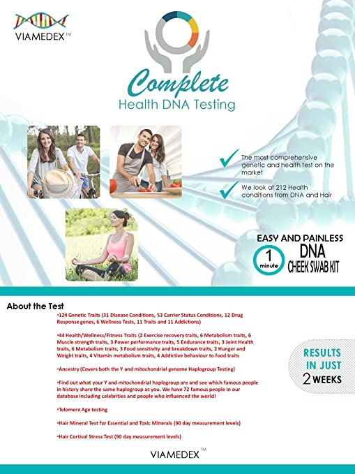 Amazon.com: VIA-MEDEX Complete Genetic and Health Test - 212 Health Conditions in ONE test: Health & Personal Care