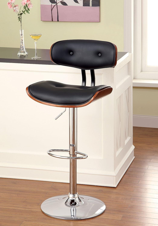 Furniture of America Mikkeli Leatherette Swivel Bar Stool, Black