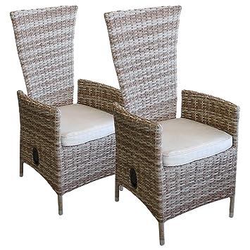 Lagerräumung   2 Stück Polyrattan Sessel Rattansessel Relaxsessel  Rückenlehne Stufenlos Verstellbar Nature + Sitzkissen Beige Gartensessel
