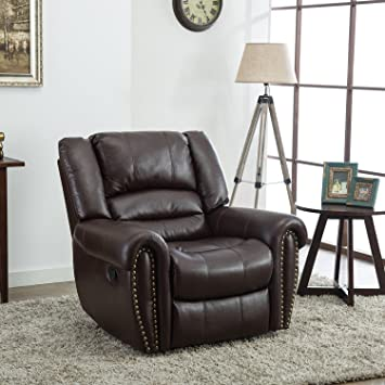 BONZY Oversized Recliner Chair Leather Cover Living Room Lounge Chair    Brown