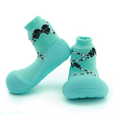 ca726b8af0320 First Walking Shoes with Socks for Baby Boys Girls (Medium, French pearl  Green)