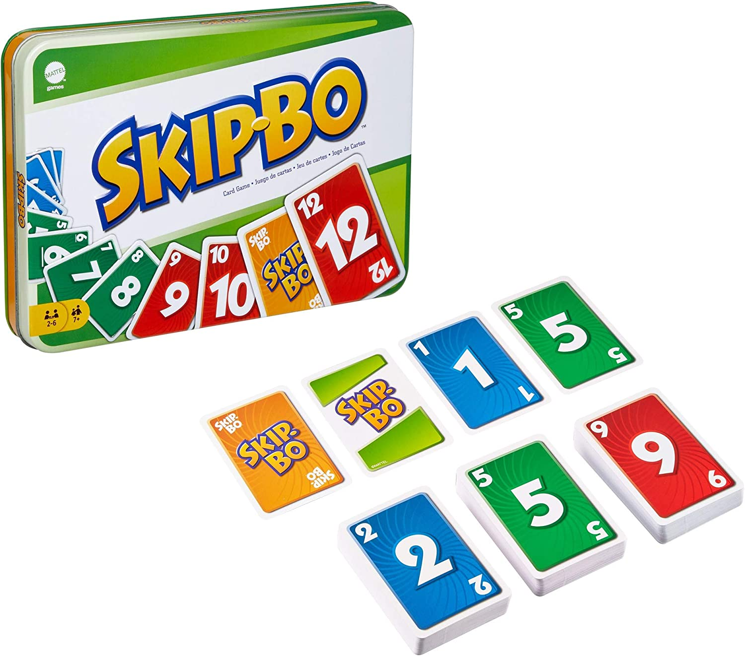 Skip Bo Card Game in Decorative Tin with 162 Cards, Sequencing Family Game for 2 to 6 Players, Kids Gift for Ages 7 Years & Older [ Exclusive]: Toys & Games
