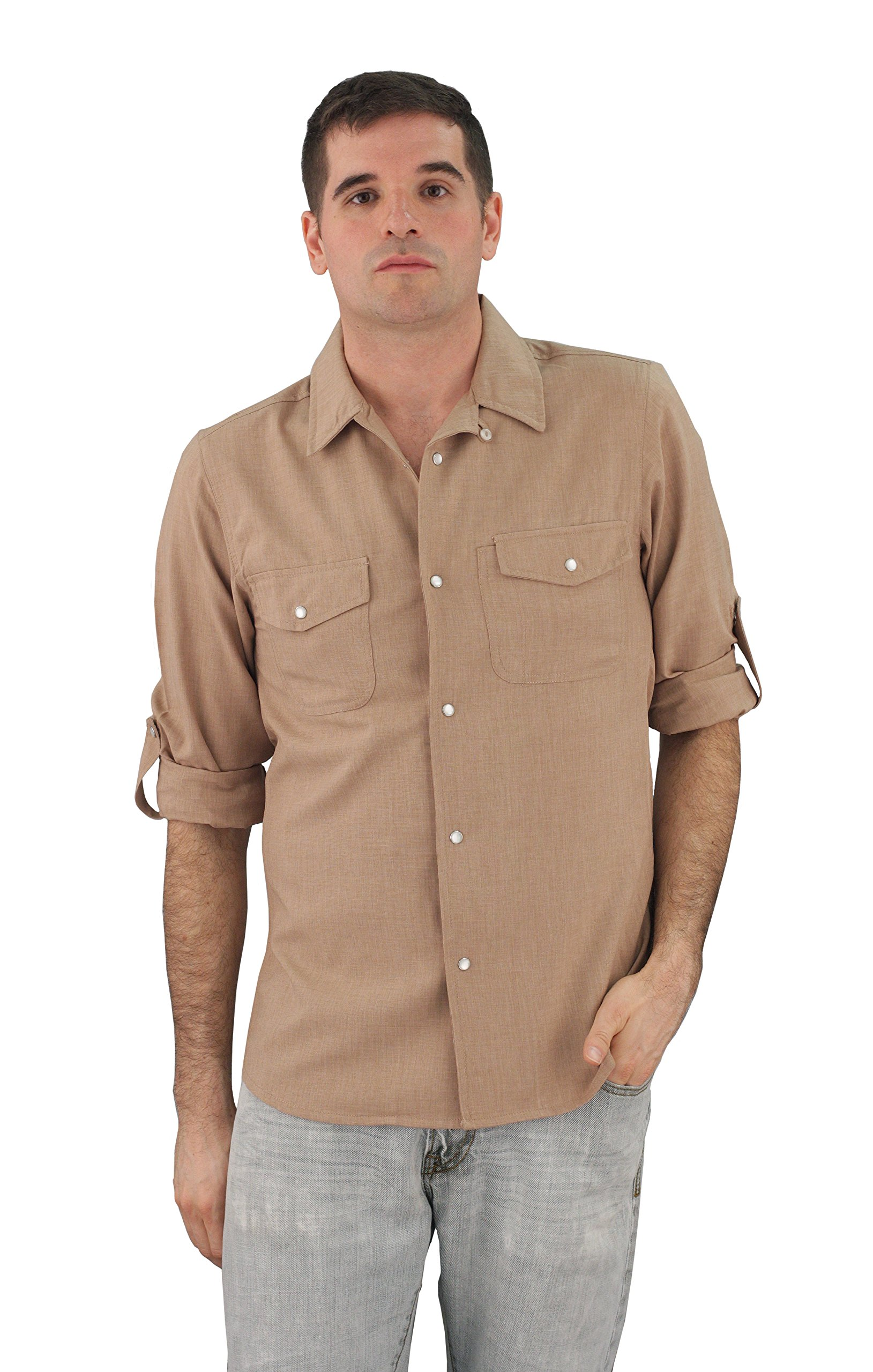 ASD Living Zanzibar Long Sleeve Dry Fit Waitstaff Server Shirt, X-Small, Almond by ASD Living