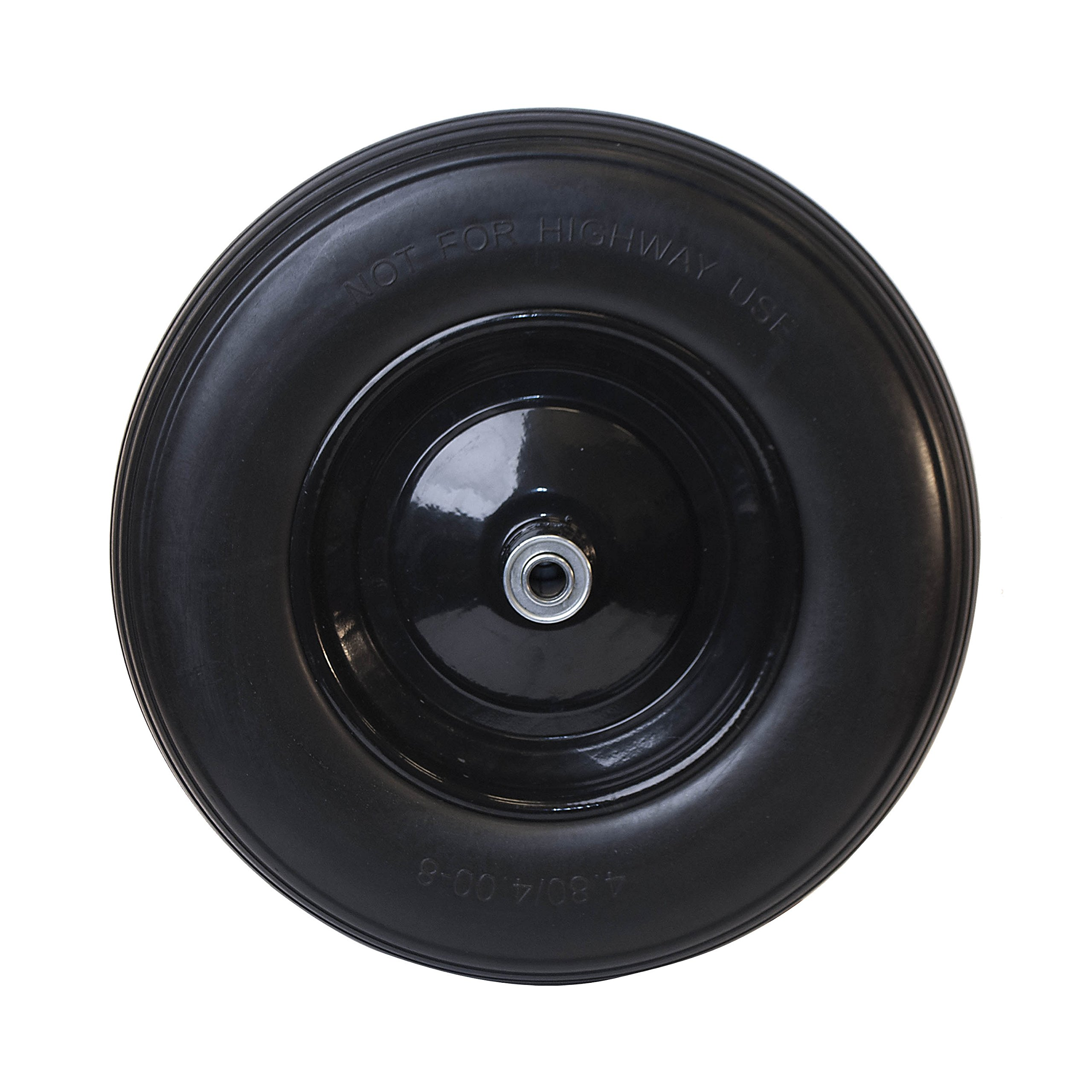 Ireko WBNF16 Anti Flat Ribbed Replacement Wheel for Wheelbarrow 16 Inches No Flat Tire Black