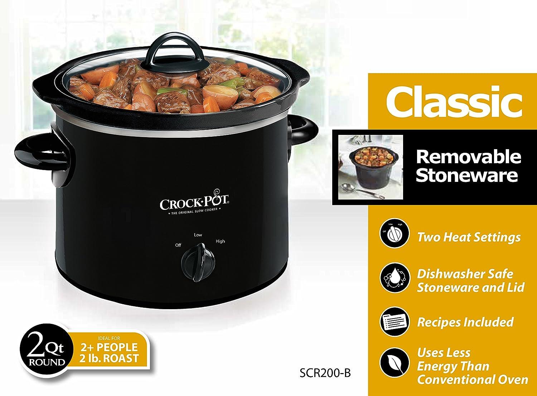 Amazon Crock Pot 2 QT Round Manual Slow Cooker Black SCR200 B Mini Kitchen Dining