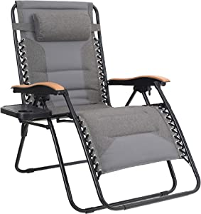 MFSTUDIO Oversized Zero Gravity Chair XL Patio Recliners Padded Folding Chair with Cup Holder, Extra Wide Chaise Lounge for Outdoor Yard Poolside, Gray