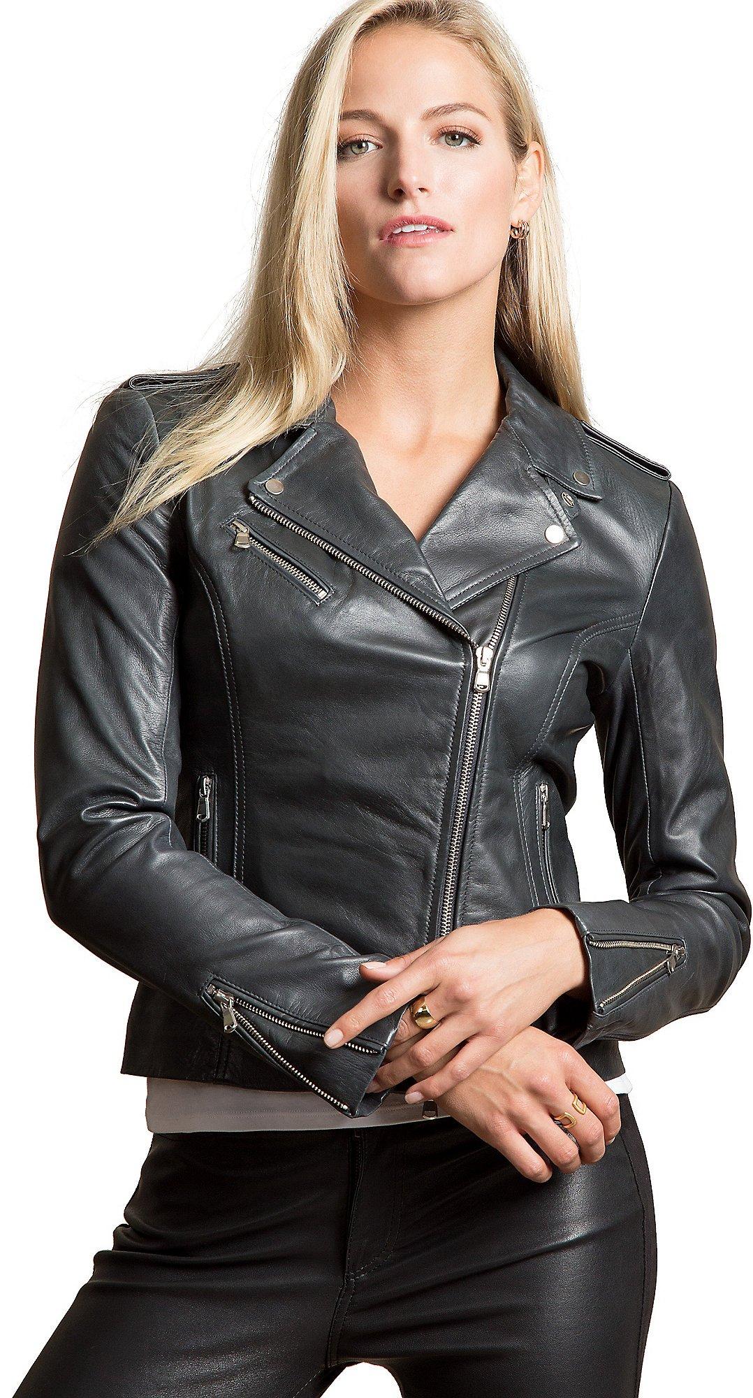 Harper Lambskin Leather Moto Jacket, Compact Grey, Size Large (14)