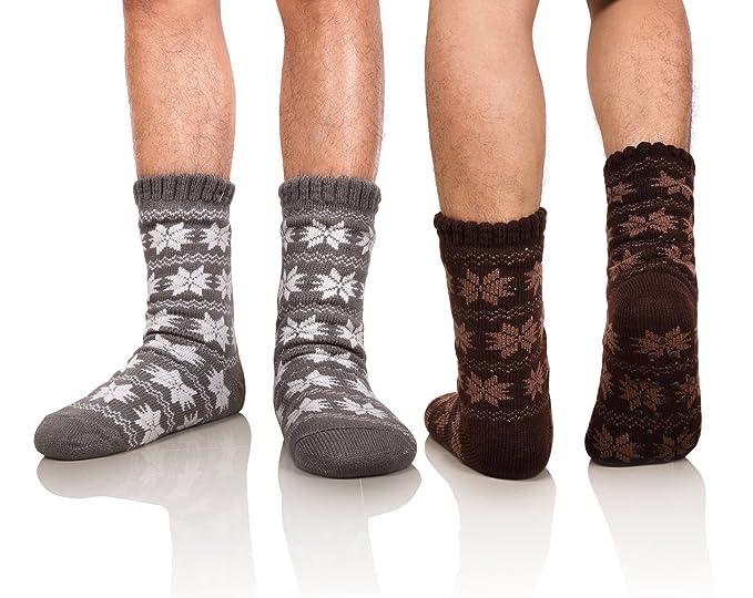 DoSmart Men's Winter Thermal Fleece Lining Knit Slipper Socks Skid Fuzzy  Warm Indoor Home Socks 2