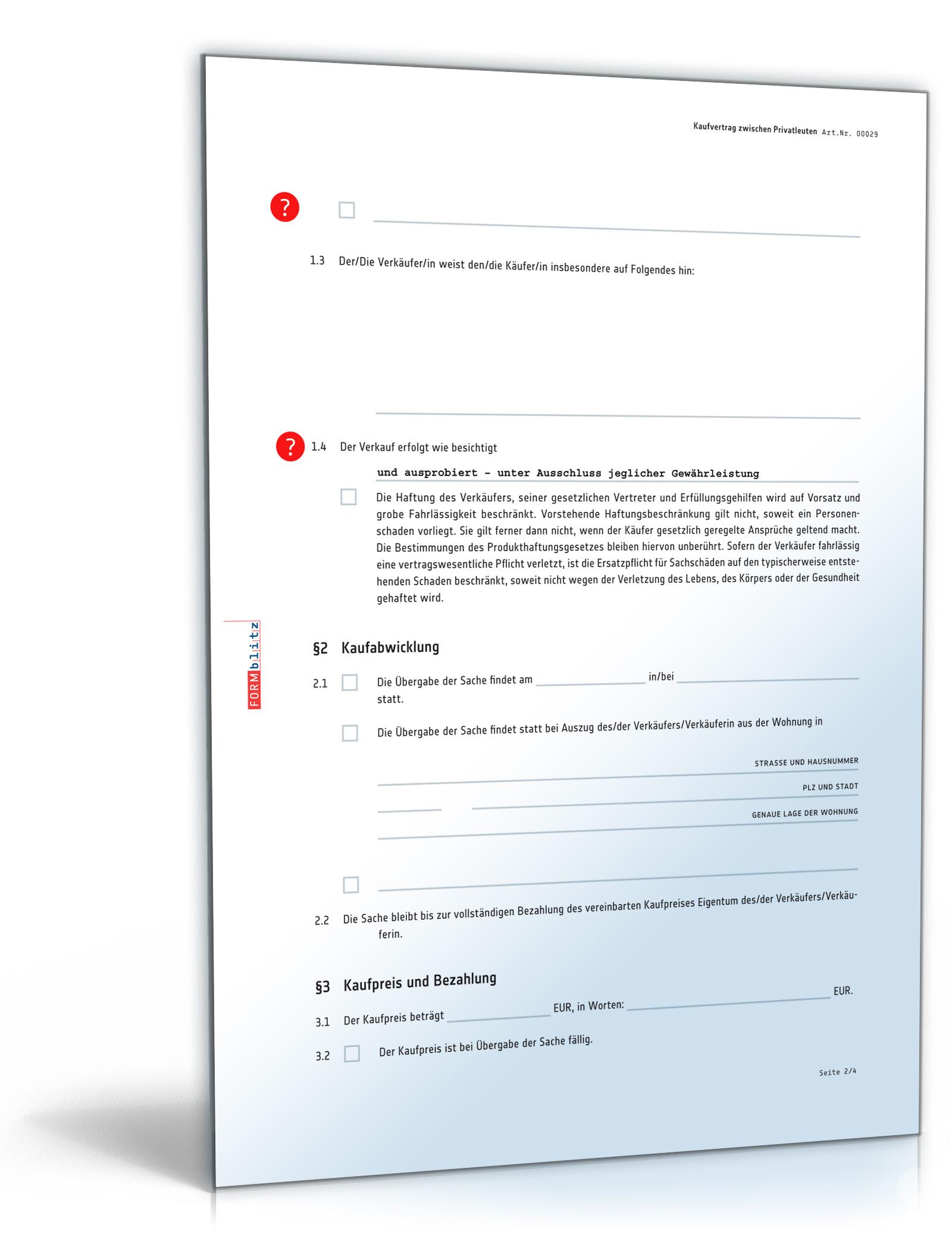 Kaufvertrag Vertrag Zwischen Privatleuten Pdf Download