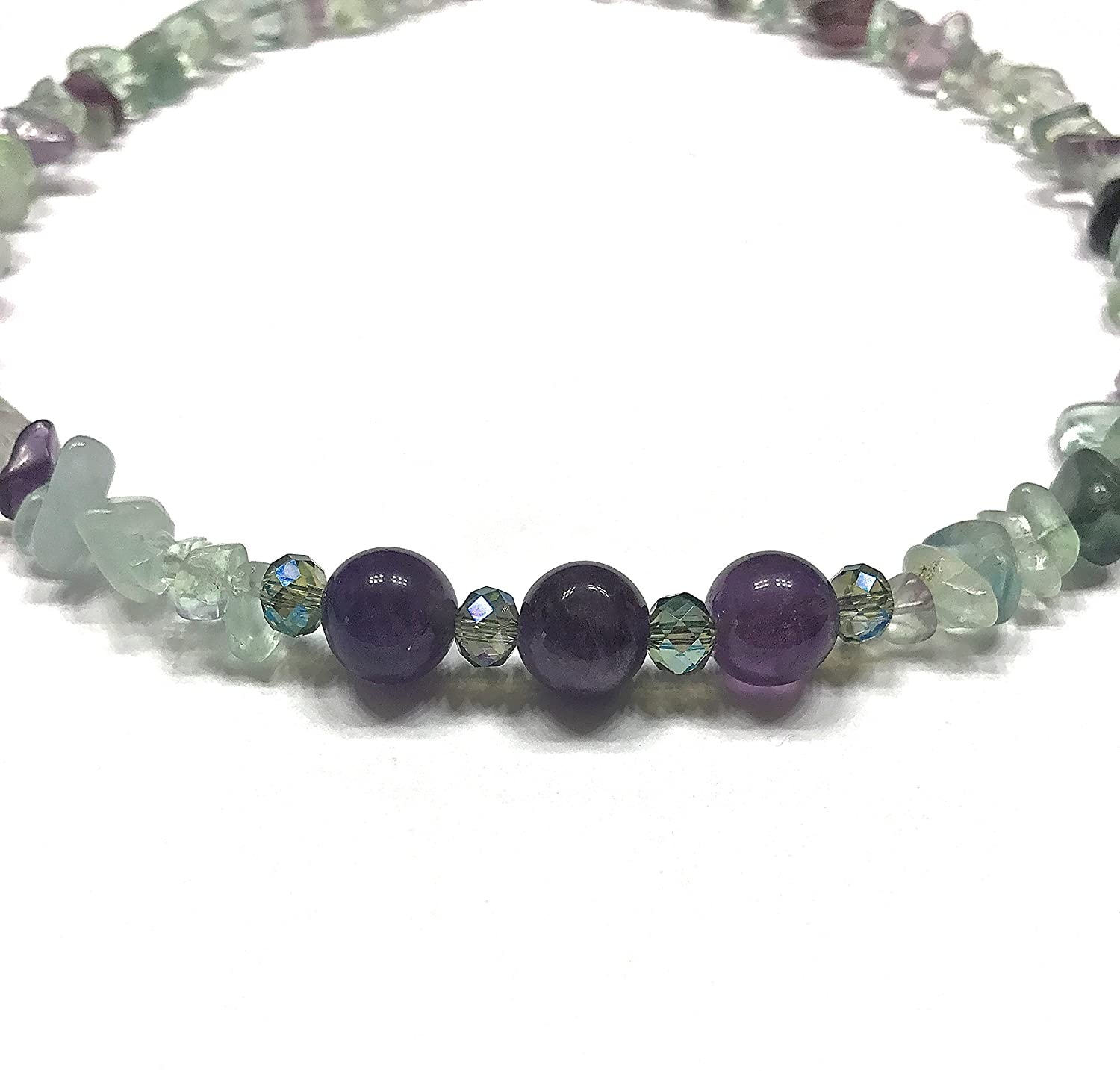 Natural Fluorite and Amethyst Choker Style Necklace Brow or Third Eye and Crown Chakra Balance.