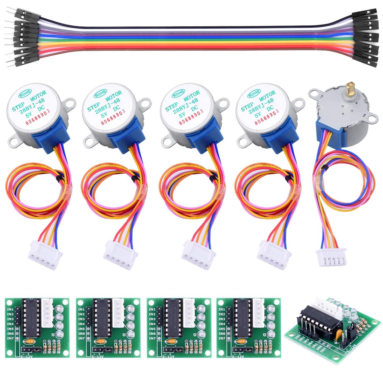 longruner 5pcs Geared Motor Paso a Paso 28BYJ 48/ULN2003/5/V Motor Paso a Paso ULN2003/Driver Board para Arduino 5pcs Uln2003 Stepper Motor+5pcs Driver Board+10pcs Jumper Wires