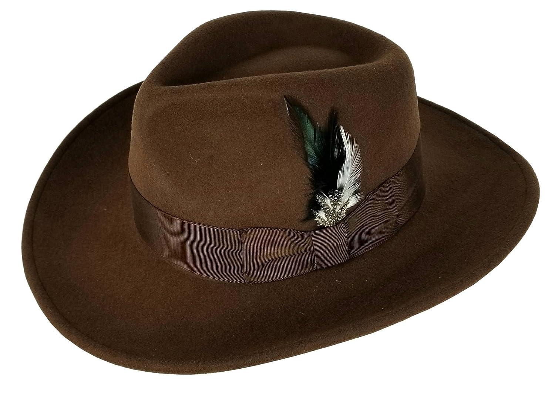 5a55d2e706e Men s 100% Crush-able Wool Felt Outback Cowboy Indiana Jones Fedora Hats