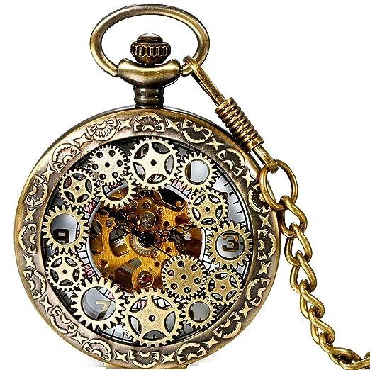 buena textura cliente primero nueva productos Lancardo - Reloj de bolsillo automático, estilo retro ...