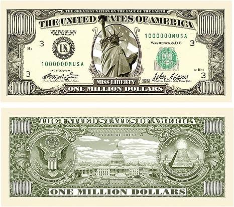 Lot of 5 Realistic $1,000,000 Million Dollar Bills Original Traditional Novelty